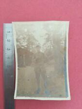 PHOTO ANCIENNE WW 1 Portrait Militaire en pied en extérieur foret