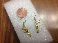 UNIQUE DOUBLE-SIDED GOLD LONE GUN REVOLVER PISTOL COWBOY PUNK earrings