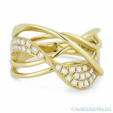 Yellow Gold Overlap Swirl Fashion Ring 0.36 ct Round Cut Diamond Right-Hand 14k