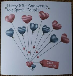 Personalised Handmade Tin/10th Wedding Anniversary Card, Friends, Daughter, Son
