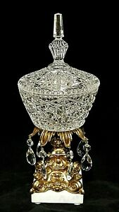 Vintage Covered Glass Pedestal Candy Dish With Crystal Prisms - Marble Base