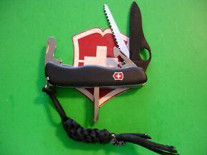 "NTSA SWISS ARMY VICTORINOX POCKET KNIFE 111mm ""ONE HAND TREKKER BLACK BLADE"""