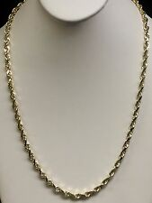 """10k Solid Yellow Gold Rope Chain Necklace 22"""" 6 mm 35 grams"""