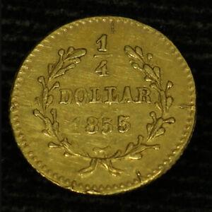 1855 California Fractional Gold BG-227 25c