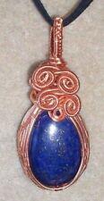Lapis Lazuli Gemstone Cabochon Wire Wrapped Pendant Necklace