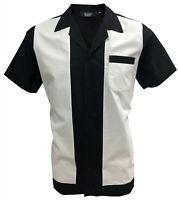 Rockabilly Fashions Men's Shirt Retro Vintage Bowling 1950 1960  Black White