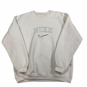 Vintage NIKE Sweatshirt Large Cream 90s