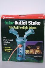Outdoor 3 Outlet Extension Cord with 2 Spot Light Holders & 3 outlet Power Stake