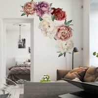 Removable Blossom Peony Flower Wall Sticker Art Mural Decals Home Bedroom Decor