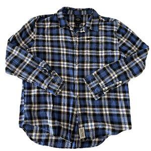 Harley Davidson Men's Long Sleeve Button Front Flannel Shirt Blue Plaid 2XL