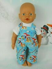"Dolls clothes for 13"" Little Baby Born Doll~CHRISTMAS BLUEY DOG OVERALL SET"