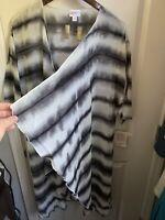NWT LuLaRoe M Solid Black White Tie Dye Shirley Sheer Coverup Overlay Chloe Stri