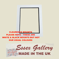 CLEARANCE - 25 x  Picture Frame Photo Double Mounts - WHITE & BLACK (Cream Core)