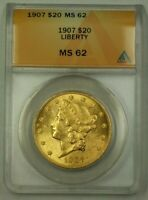 1907 US Liberty Head $20 Gold Coin ANACS MS-62