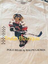 POLO BEAR RALPH LAUREN T SHIRT BOYS KIDS BIG PONY HOCKEY BEAR SZ MEDIUM 10-12