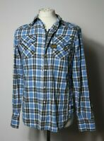 G Star Raw Men's Long Sleeve Shirt Size M Zip Up Snap Button Blue White Check