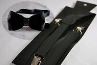 Black Leather & Velvet Bow tie + Elastic Suspenders Braces for Boy Toddler Kids