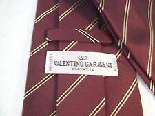 Vtg Valentino Garavani Cravatte Power Tie Men's Silk Necktie Italy Maroon Stripe