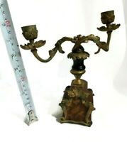 Antique French Candlestick Holder Brass Wood Black 1945 2 Candles Classy