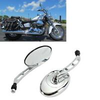 2X Chrome Oval Rearview Mirrors For Harley Electra Glide Sportster 883 1200