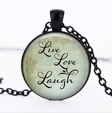 Live, Love, Laugh Black Glass Cabochon Necklace chain Pendant Wholesale