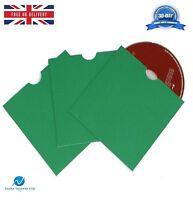 100 CD DVD Card board Wallet / Sleeves with Thumb Cut Green Blank NEW HQ AAA