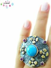 Turkish Handmade 925 Sterling Silver Jewelry Turquoise Adjustable Ring NEW R2337
