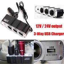 Car Cigarette Lighter Socket Splitter 3-Way USB Charger Adapter Laturi DC 12V