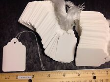 200 WHITE Large Price Merchandise Tags BLANK w/ Strings STRUNG #7