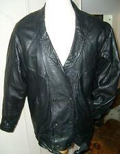 Classic Black Leather jacket,Sz; approx 38 / 40 Vintage 80's