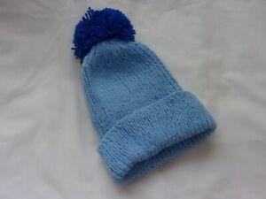 Ladies Hand Knit Pale Blue Beanie with Dark Blue Pom Pom BNWOT