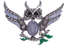 Owl Flying Wing Spread Pin Brooch Grey Alloy Crystal Body Rhinestone Grandfather