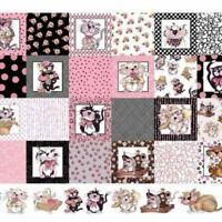 "Loralie Medley Fancy Cats Panel 23"" X 44"" Cotton Fabric"