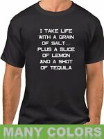 Men's I Take Life With a Shot Of Tequila T Shirt Funny Saying Party T-Shirt Tee