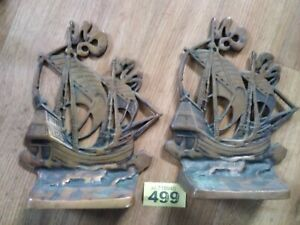 Vintage Bronze Sailing Ship Bookends