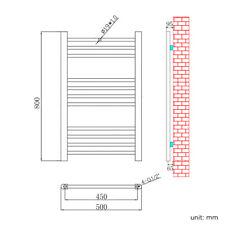 Bathroom Heated Towel Rail Radiator Chrome Straight / Curved / Square Shape