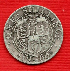 1900 SILVER SHILLING COIN. QUEEN VICTORIA VEILED HEAD. IN A USED CONDITION.