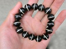 16MMNatural Dzi Beads Old Agate Bracelets Handmade Men and Women Three Dzi Beads