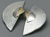 Große Ohrclips 925 Silber 585 Gold Meisterpunze 80er Jahre /A658