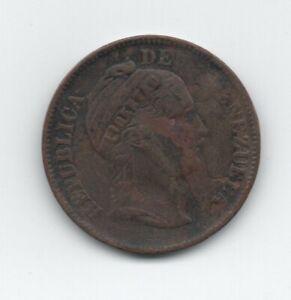 1862 Venezuela 1 Centavo  Copper Coin Y 7 VF-
