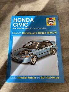 Honda Civic EG SOHC Haynes Manual 1991 - 1996 J to N reg Hatchback Coupe Saloon