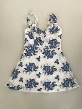 New w/ Tags - White & Blue Lace Mini Dress from Forever 21. UK Size 10.
