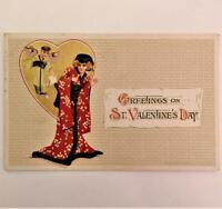 Antique 1914 Embossed Geisha Girl & Cupid Valentines Postcard Winsch Schmucker