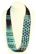 NE702-139 Exotic Turquoise Glass Leopard Skin Hand Beaded Necklace Seed Artisan