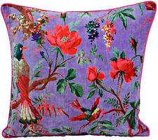 Purple Velvet Pillow In Bird Print, Velvet Pillow Cover, Decorative Throw Pillow