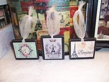3 Mini Paris signs Eiffel Tower wall decor vintage French country cottage