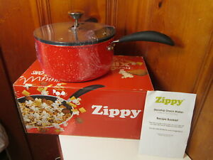 Zippy Pop Red Stovetop Popcorn Popper Snack Mixer Maker Glass Lid 5.5 Quart NEW