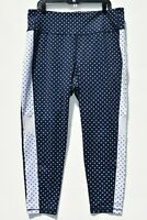 Old Navy Women Size XL Capri Workout Leggings Polka Dots Mesh blue white pocket
