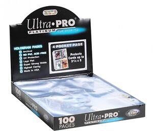 100 Ultra Pro PLATINUM 4 POCKET 3 1/2 x 5 1/4 Photo Postcard Pages