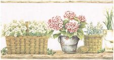 FLOWERS EGGS HERBS IN BASKETS AND POTS  Wallpaper bordeR Wall